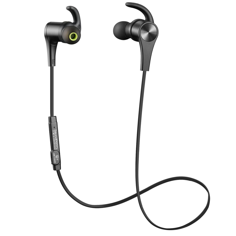 Soundspeats - Cuffie Bluetooth Auricolari Wireless microfono integrato per iPhone, Galaxy, Tablet, MP3 - Nero