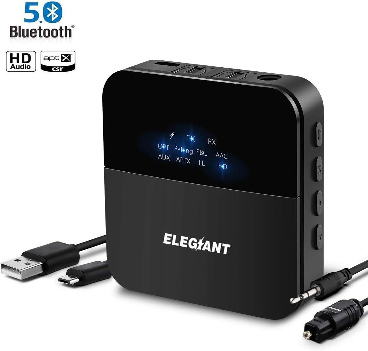Receptor transmisor Bluetooth 5.0 ELEGIANT Adaptador de audio inalámbrico portátil AptX HD AptX LL Rango con 3,5 mm Óptica digital Toslink 2 Cable de conexión RCA para TV Estéreo Altavoz HiFi