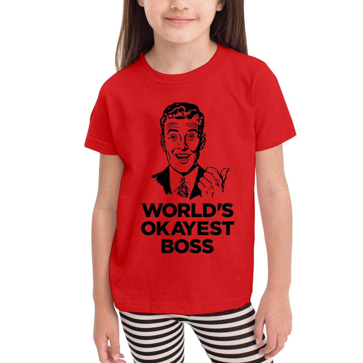 Worlds Okayest Boss Novelty Cotton T Shirt Personality White Tee for Toddler Kids Boys Girls