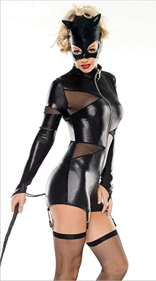 Amazon.com: XSQR Traje sexy de látex con aspecto mojado para ...