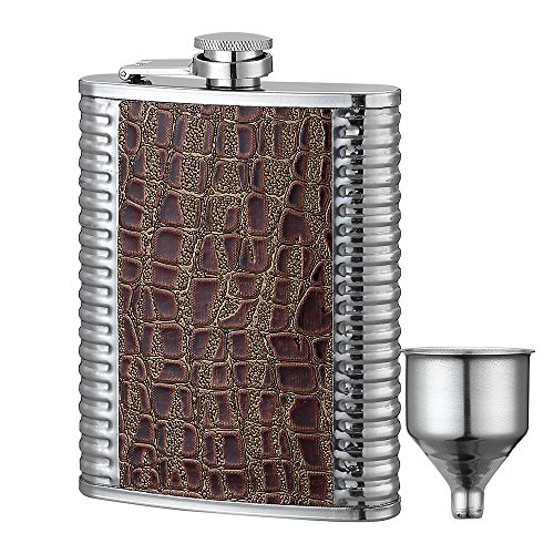 8-Oz. Classic Flask by YWQ,Stainless Steel Hip Flask and Funnel Set ()