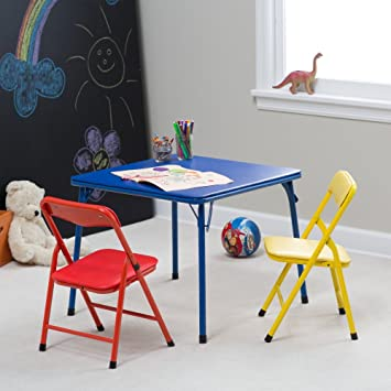 Showtime 3 Piece Childrens Folding Table and Chair Set - Multi Color & Amazon.com: Showtime 3 Piece Childrens Folding Table and Chair Set ...
