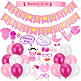 Auihiay 36 Pack Pink Girls Baby Shower Decorations Set with It's A Girl and Baby Shower Banner, Mummy To Be Sash, Girl Baby Photo Booth Props and Balloons for Baby Shower Party Decoration