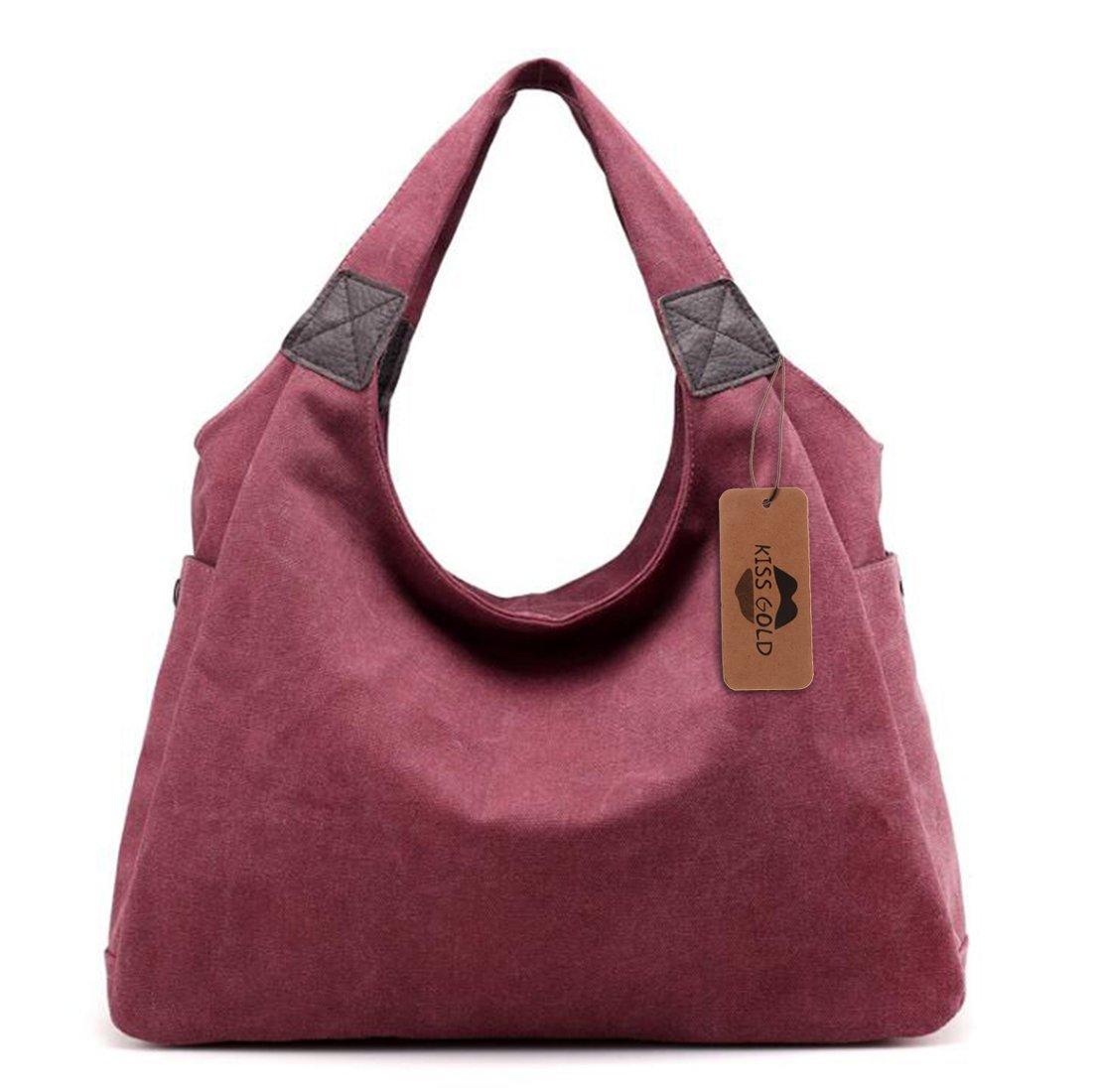 KISS GOLD(TM) Simple Style Canvas Tote Hobo Bag Shopper Handbag For Womens, Model B-Purlish Red