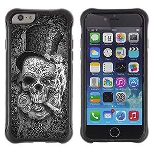 Be-Star único patrón Impacto Shock - Absorción y Anti-Arañazos Funda Carcasa Case Bumper Para Apple iPhone 6(4.7 inches) ( Top Hat Death Metal Cigar Rose Rock )
