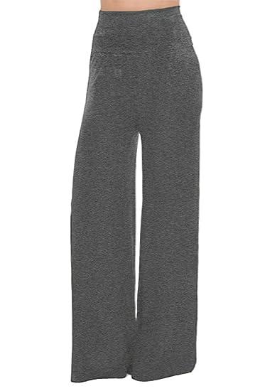 92805138e15 Soft MODAL High Waist Foldover Wide Leg Palazzo PANTS at Amazon Women s  Clothing store