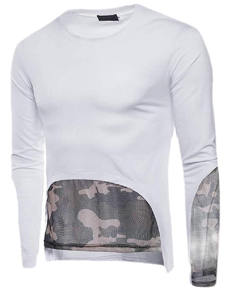 Sweatwater Mens Camo Mesh Autumn Crew Neck Long Sleeve Top Tee T-Shirts