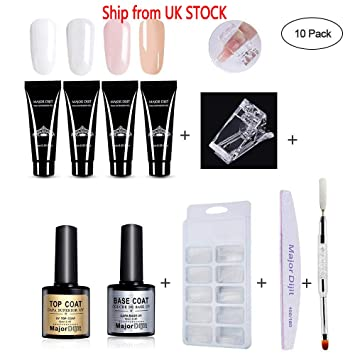 AOLVO Polygel uñas Kit, Uñas Postizas Fingers Poly Gel Set – 4 * Poly Gel