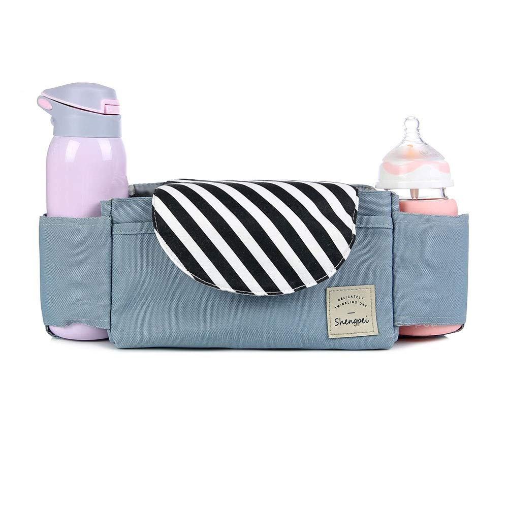 DHUYUN Stroller Organizer Universal Stroller Organizer Bag with with 2 Cup Holders for All Strollers Secret Compartment for Your Wallets and Keys 4 Colors Parents Stroller Organizer Bag by DHUYUN (Image #1)