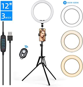 "KinCam 12"" LED Selfie Ring Light with Tripod Stand Phone Holder for Makeup,Live Stream YouTube,3 Light Modes and 10 Brightness Level Circle Light with Remote Compatible with iPhone and Android"