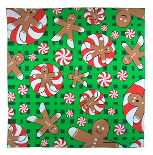The Bandanna Company Women's Novelty Seasonal Holiday Bandana One Size Christmas Gingerbread Man