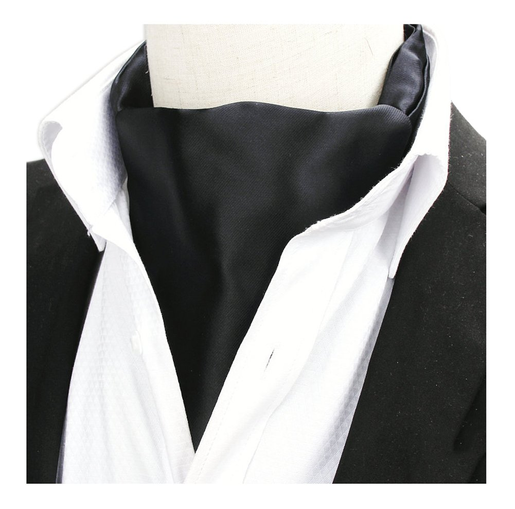 Men Classic Solid Color Black Vintage Satin Silk Cravat Ties Tuxedo Dress Ascot