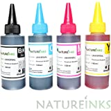 4 Premium dye Refill Printer Ink Bottles kit includes Black, Cyan and Yellow alternative to Epson Ricoh Brother for Refillable or CISS system by Natureinks (400 ml)