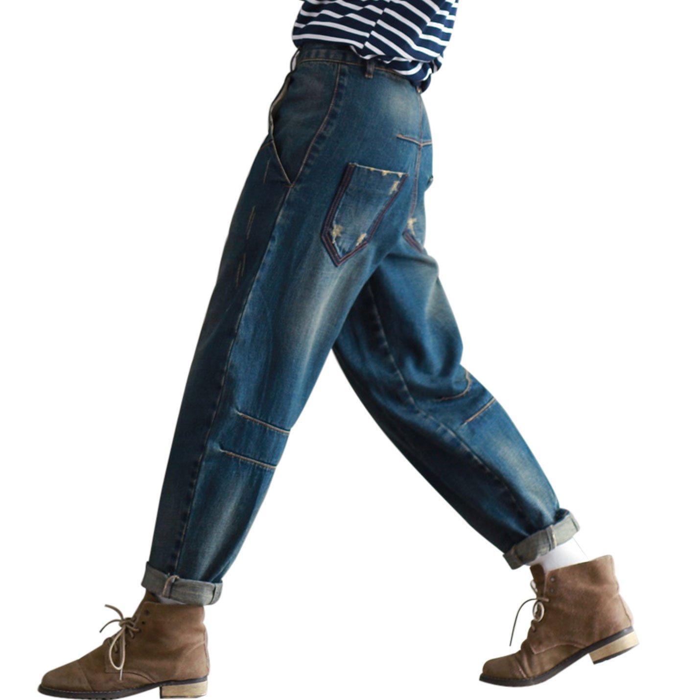 Yeokou Women's Casual Loose Distressed Baggy Harem Denim Jeans Cropped Pants (Large, Dark Blue) by Yeokou (Image #1)