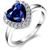 Yellow Chimes Royal Blue 'Queen Heart' A5 Grade Crystal Heart Ring for Women and Girls