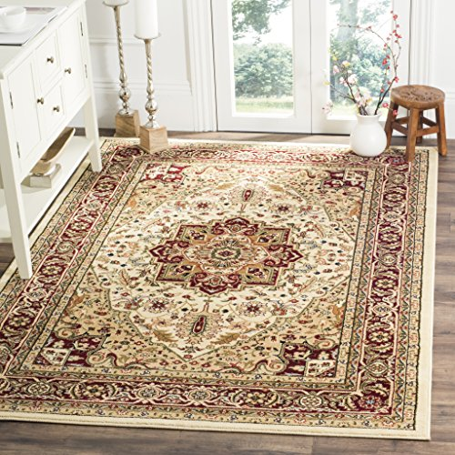 Safavieh Lyndhurst Collection LNH330A Traditional Oriental Medallion Ivory and Red Square Area Rug (10' Square)