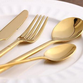 Chapado en oro cubertería 4 piezas Cubiertos de acero inoxidable Vajilla Cuchara de mesa, pulido chapado en vajilla cubiertos Set: Amazon.es: Hogar