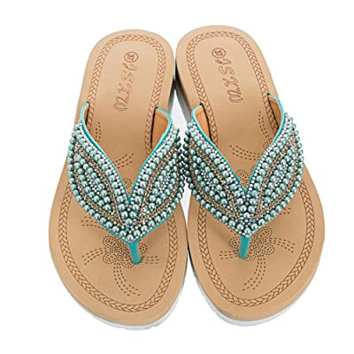 Dizadec Sandals for Women Bohemia Beach Summer Platform Sandals T-Strap Beaded Dress Thong Flip Flops Slip On Casual Shoes: Clothing