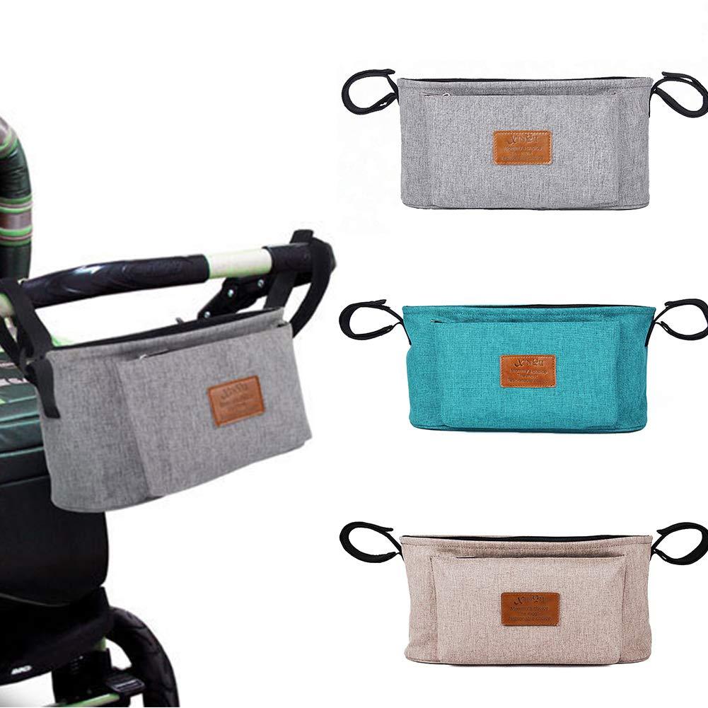 soporte para pa/ñales bolsa de almacenamiento para botellas organizador de viaje universal para cochecito de beb/é cesta para accesorios de beb/é caqui Bolsa para cochecito de beb/é