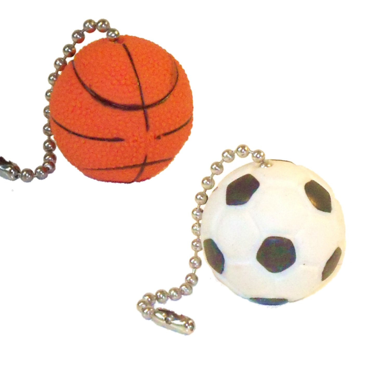 Sports Ball Ceiling Fan Pull Chains (Basketball Soccer Ball ...