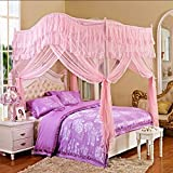 Mosquito Net Creative Arcuated Floor-standing Mosquito Net/ Bolden Stainless Steel Pipe Stable Mosquito Net/ Encryption Continental Net Yarn Bed Mantle (4 Colors Available) ( color : B , Size : 1.5M )