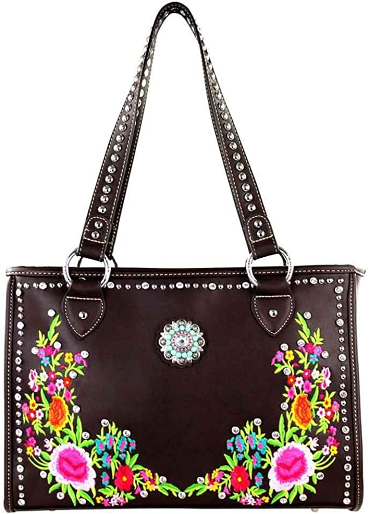 Montana West Concealed Handgun Carry Embroidered Purse Coffee MW295G-9220