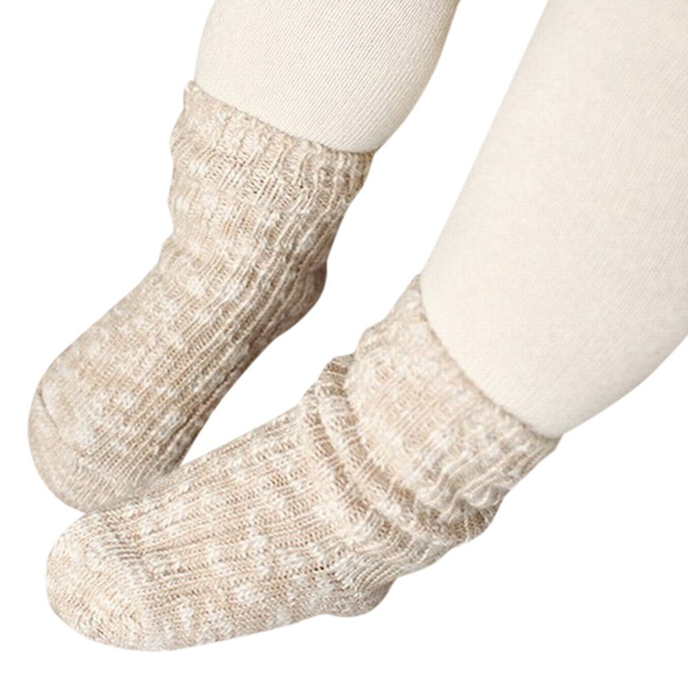 FEITONG 1 Pairs Cotton Soft Solid Socks for Baby Boys Girls Toddler Kids Child(2-4T,Beige)