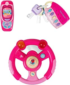 Luke4deals 3 in 1 Interactive Musical Toys - Steering Wheel, Cell Phone & Car Keys Set with Lights, Music and Sounds - Toys for Girls Kids or Toddlers