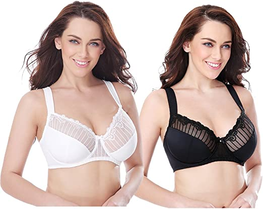 Curve Muse Womens Plus Size Minimizer Underwire Bra with Lace Embroidery-2 or 3Pk