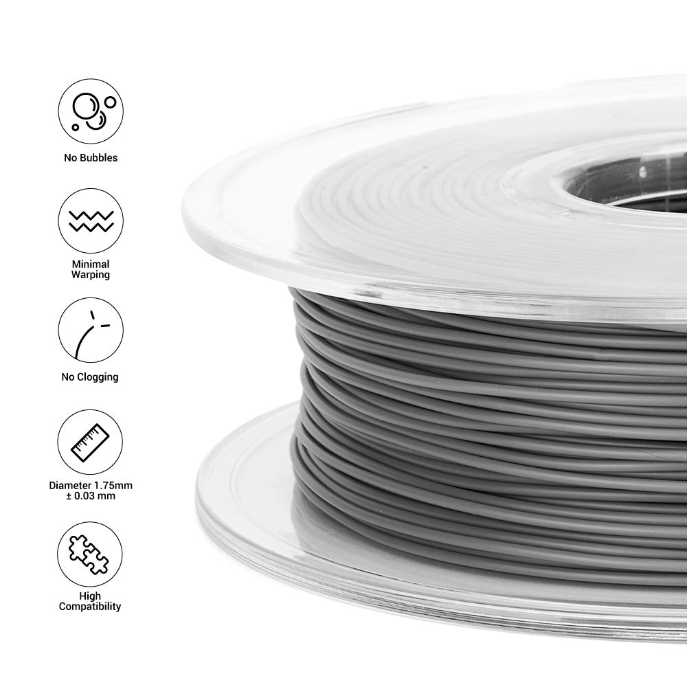 White 1.75mm PLA Filament 0.5kg Spool Dimensional Accuracy +//- 0.03 mm, Snapmaker 3D Printer Filament White Color 1.1 LBS