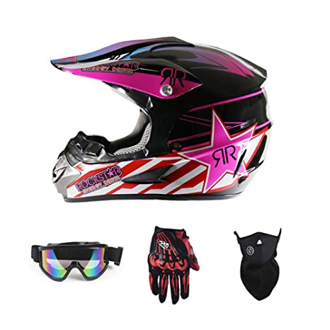 Adult Motocross Helmet Gift Goggles mask Gloves Fox Moto Racing Full face Helmet for Man and Woman,A,S