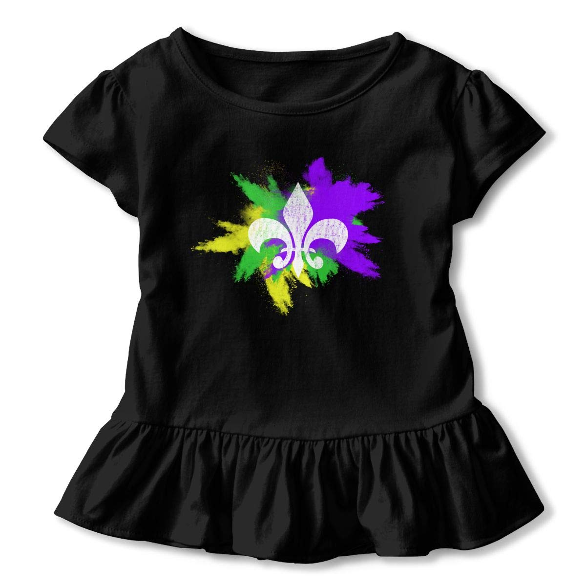 New Orleans Party Toddler Baby Girls Short Sleeve Ruffle T-Shirt Fleur De Lis Mardi Gras