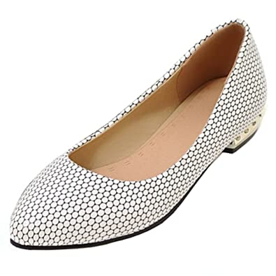 cc64411f9 Aisun Women's Stylish Low Cut Pointed Toe Dress Wear to Work Office Slip On  Flats Driving