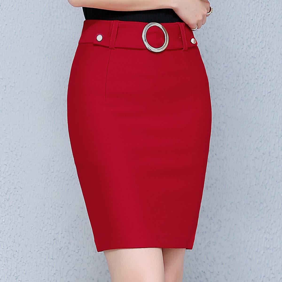 E-Girl DA1140 - Falda Mini lápiz para Mujer Rojo 42 EU XXL: Amazon ...