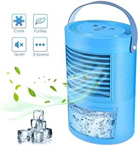 Portable Air Conditioner Fan, Mini Evaporative Cooler Personal Air Cooler with 7 Colors Light Changing, 3 Fan Speed, Super Quiet Humidifier Misting Fan for Home Office Bedroom