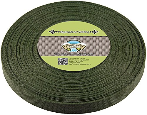Country Brook Design 3/4 Inch Dark Olive Drab Polypro Webbing, 25 Yards