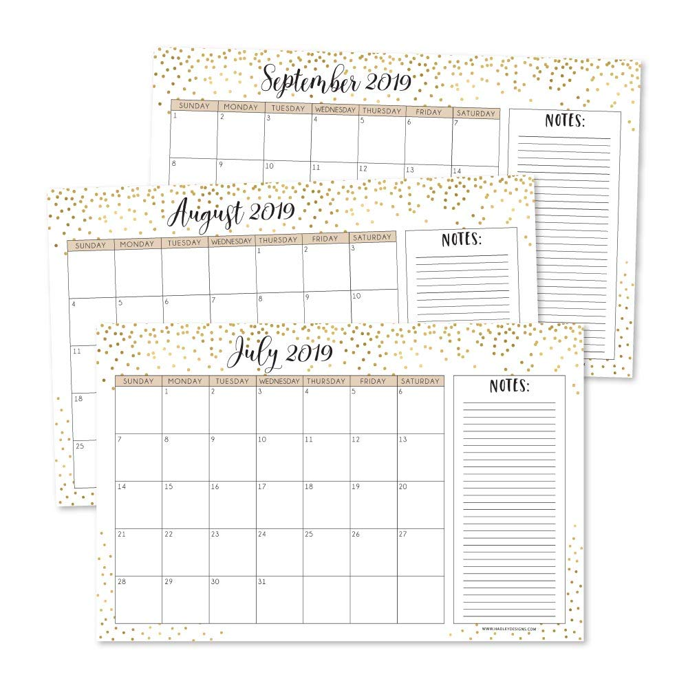 Gold 2019-2020 Large Monthly Desk or Wall Calendar Planner, Big Giant Planning Blotter Pad, 18 Month Academic Desktop, Hanging 2-Year Date Notepad Teacher, Mom Family Home or Business Office 11x17""