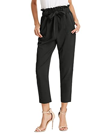 776c1af07 GRACE KARIN Women's Pants Trouser Slim Casual Cropped Paper Bag Waist Pants  with Pockets (X