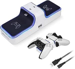 Powerextra Trådlös styrenhetsladdare, ersättning PS5-laddare, dubbel USB snabbladdningsstation typ C med indikatorlampa, vit