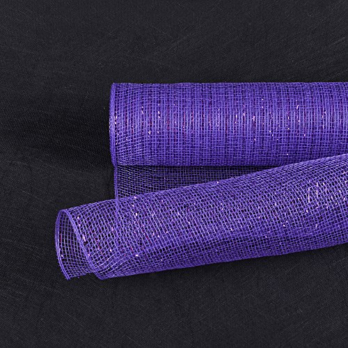 - Fuzzy Fabric 21 inch x 10 Yards (30 feet) Purple Line Deco Poly Mesh Wrap Metallic Gifts for Home Decor