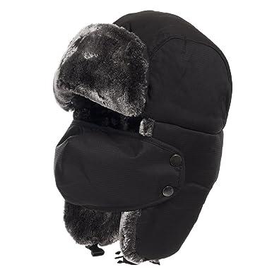 Amazon.com  Backcountry Ski Winter Ushanka Aviator Hat with Face ... de56fd939e5