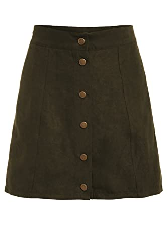ff8f6a12f MAKEMECHIC Women's Casual Faux Suede Button Front A Line Mini Skirt Army  Green S