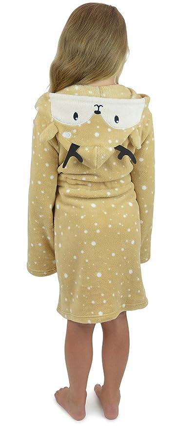 Metzuayn Girls Giraffe Novelty Plush Fleece Dressing Gown