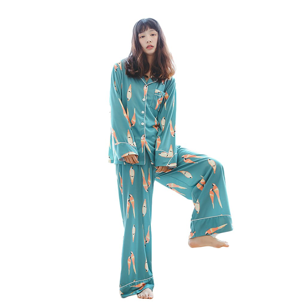 b7f1d856dd Amazon.com  Women  s Pure Cotton Pajamas Long - Sleeved Cardigan Flared  Trousers Cartoon Home Clothing Set ( Color   Green