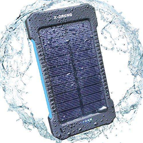 Solar Ladegerät Powerbank, X-DNENG 10000mAh Regenbestädiges, Staubdichtes und Stoßfestes Duale USB Ports Solar Power Bank Externe Akku Backup Batterie für iPhone, iPad, Handy, Tablet, Kamera usw - Blau
