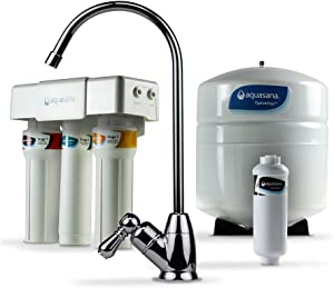 Aquasana OptimH2O Reverse Osmosis Under Sink Water Filter System - Filters 95% Of Fluoride - Kitchen Counter Faucet Filtration - Chrome - AQ-RO-3.55