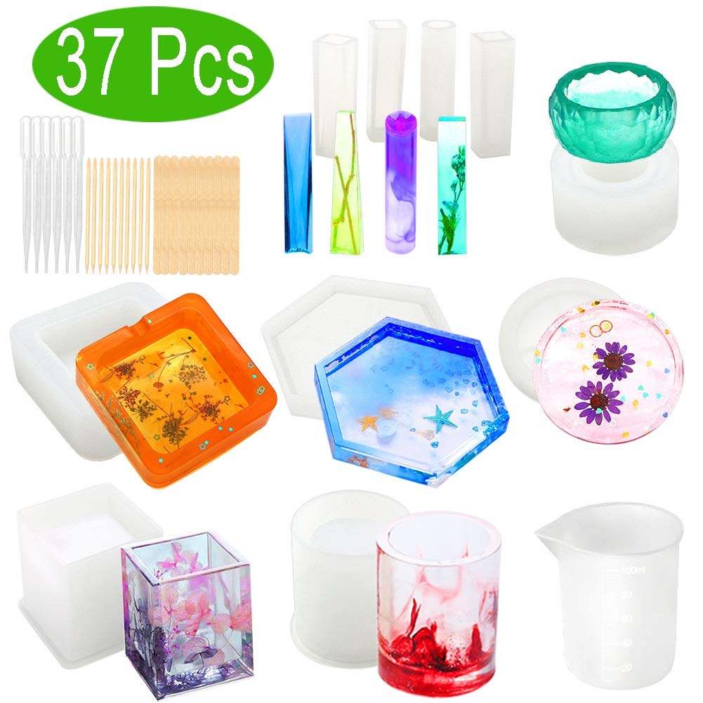 Resin Molds, WEST BAY 37Pcs Silicone Molds for Resin Epoxy Resin Casting Art Molds for DIY Cup Pen Soap Candle Holder Ashtray Flower Pot Coaster Pendant Cylinder Cuboid Hexagon Round Molds Test Mixer by West Bay