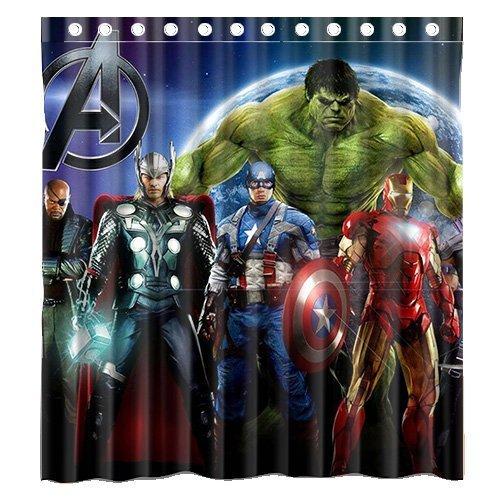 [Custom Marvel Comic American Movie Superhero the Avengers Waterproof Polyester Fabric Bathroom Shower Curtain Standard Size] (Avengers Superhero)