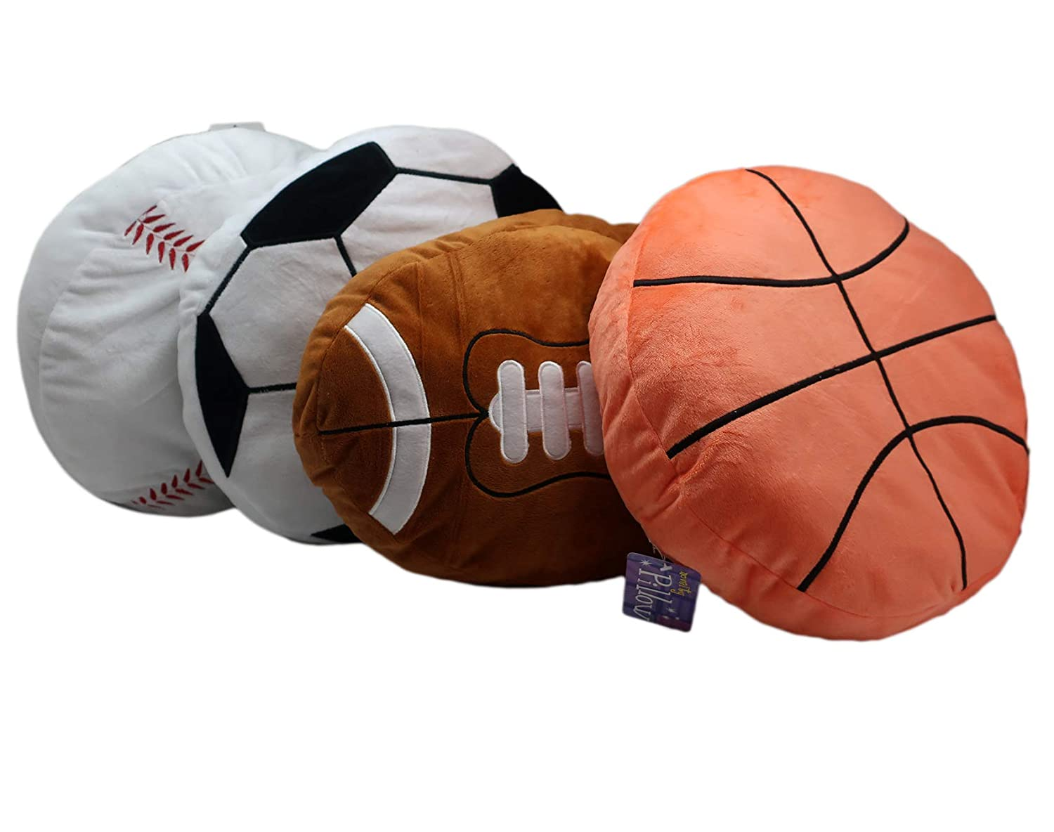 """1 Basketball Forest /& Twelfth Kids Sports Ball Plush Pillows Set of Four 16/"""" Sports Ball Plushies Includes 1 Baseball RIN Set of 4 Sports Balls and 1 Football Pillow Plush 1 Soccer Ball"""