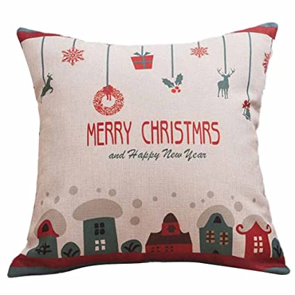 Amazon.com: Duseedik Merry Christmas Throw Pillow Cases Cafe ...